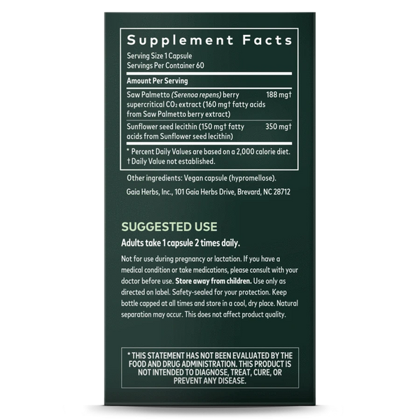 Gaia Herbs Saw Palmetto 60ct-Supplements-The Scarlet Sage Herb Co.