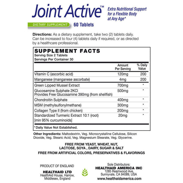 Health Aid Joint Active 60ct-The Scarlet Sage Herb Co.