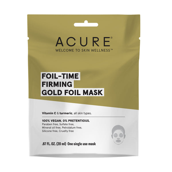 Acure Sheet Mask Foil Gold .67oz-Facial Skincare-The Scarlet Sage Herb Co.