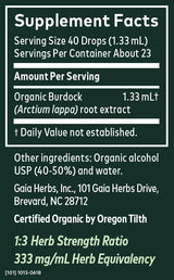 Gaia Herbs Tincture Burdock Root 1oz-Tinctures-The Scarlet Sage Herb Co.