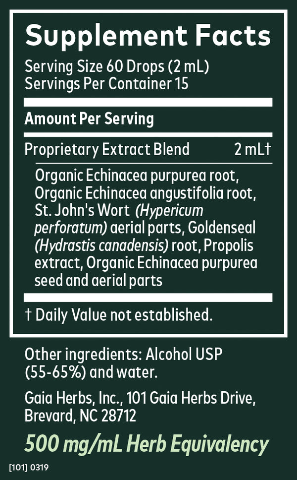 Gaia Herbs Tincture Echinacea Goldenseal Supreme 2oz-Tinctures-The Scarlet Sage Herb Co.