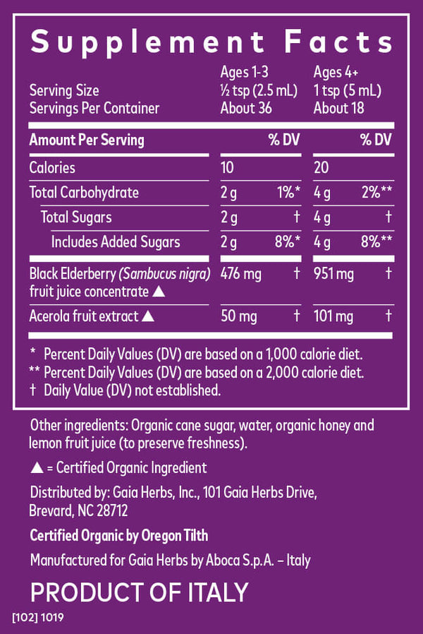 Gaia Herbs Kids Elderberry Syrup 3oz-Supplements-The Scarlet Sage Herb Co.