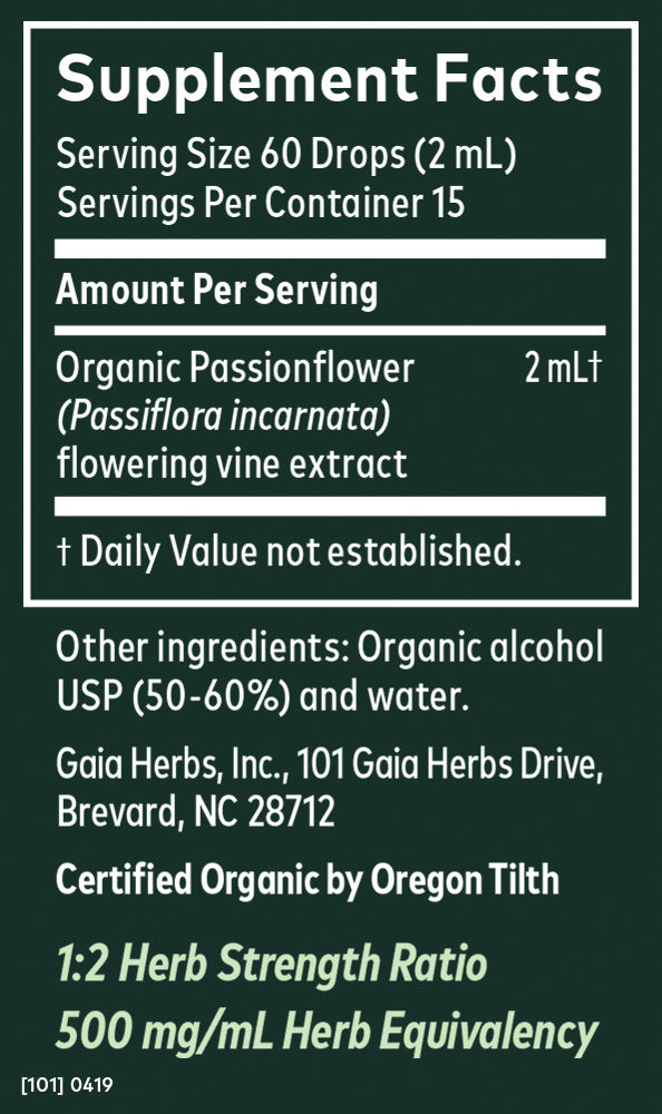 Gaia Herbs Tincture Passionflower Vine 1oz-Tinctures-The Scarlet Sage Herb Co.