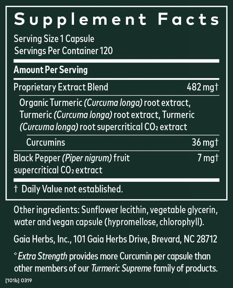 Gaia Herbs Turmeric Supreme Extra Strength-Supplements-The Scarlet Sage Herb Co.