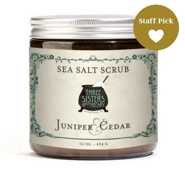Three Sisters Apothecary Salt Scrub Juniper Cedar 16oz-Bath Time-The Scarlet Sage Herb Co.