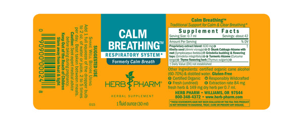 Herb Pharm Calm Breathing 4oz-Tinctures-The Scarlet Sage Herb Co.