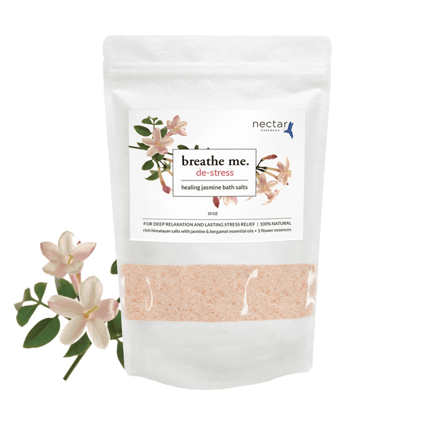 Nectar Essences De-stress Bath Salts 10oz - The Scarlet Sage Herb Co.