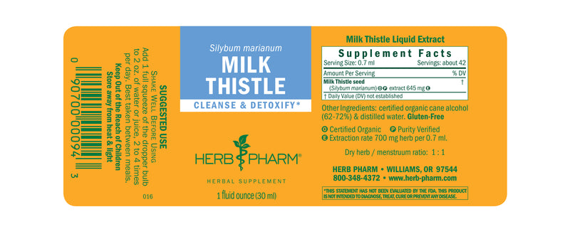 Herb Pharm Milk Thistle 1oz-Tinctures-The Scarlet Sage Herb Co.