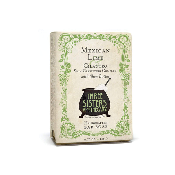 Three Sisters Apothecary Bar Soap Mexican Lime Cilantro 4.75oz - The Scarlet Sage Herb Co.