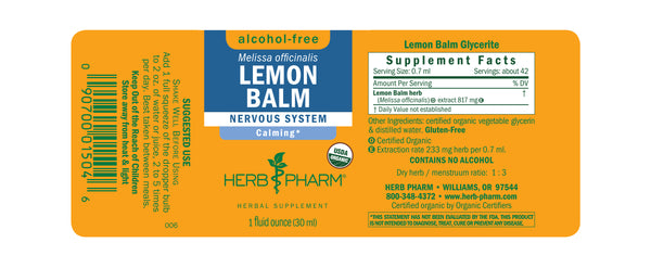 Herb Pharm Glycerite Lemon Balm 1oz-Tinctures-The Scarlet Sage Herb Co.