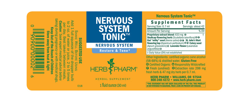 Herb Pharm Nervous System Tonic 1oz-Tinctures-The Scarlet Sage Herb Co.