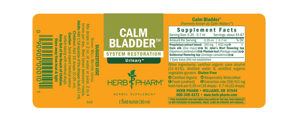 Herb Pharm Calm Bladder 1oz-Tinctures-The Scarlet Sage Herb Co.