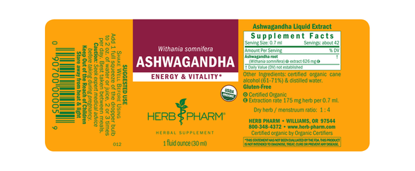 Herb Pharm Ashwagandha 1oz-Tinctures-The Scarlet Sage Herb Co.