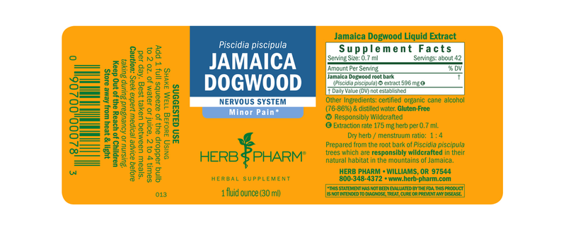 Herb Pharm Jamaica Dogwood 1oz-Tinctures-The Scarlet Sage Herb Co.