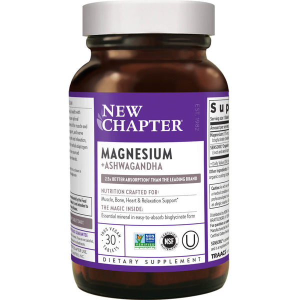 New Chapter Magnesium + Ashwagandha 30ct-Supplements-The Scarlet Sage Herb Co.