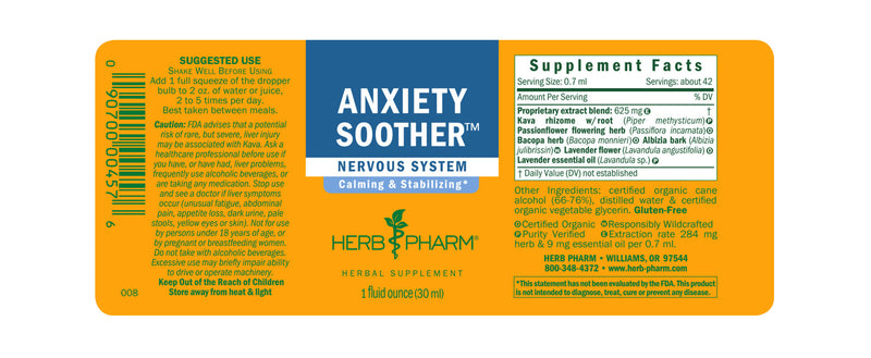Herb Pharm Anxiety Soother 4oz-Tinctures-The Scarlet Sage Herb Co.