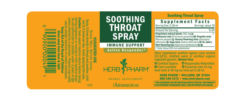 Herb Pharm Soothing Throat Spray 1oz-Tinctures-The Scarlet Sage Herb Co.