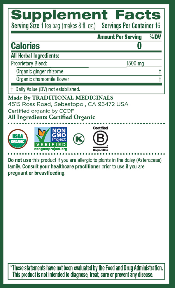 Traditional Medicinals Ginger Chamomile 16ct-Teas-The Scarlet Sage Herb Co.