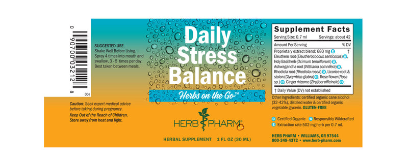 Herb Pharm Herbs on the Go: Daily Stress Balance 1oz-Tinctures-The Scarlet Sage Herb Co.