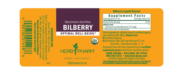 Herb Pharm Bilberry 1oz.-Tinctures-The Scarlet Sage Herb Co.