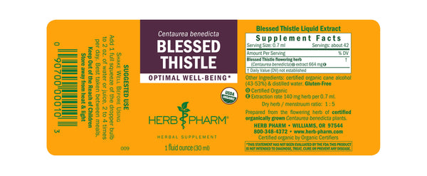 Herb Pharm Blessed Thistle 1oz.-Tinctures-The Scarlet Sage Herb Co.
