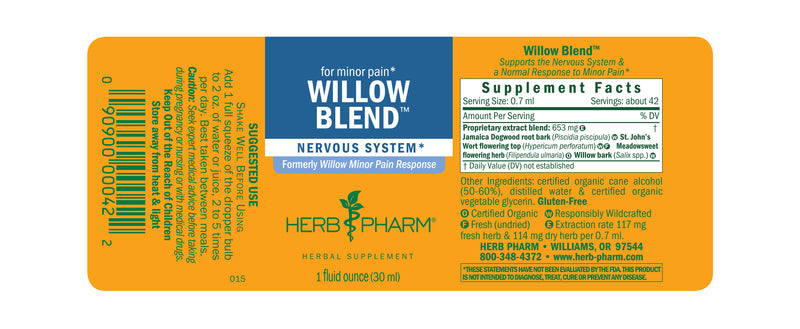 Herb Pharm Willow Blend 1oz-Tinctures-The Scarlet Sage Herb Co.