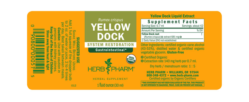 Herb Pharm Yellow Dock 1oz-Tinctures-The Scarlet Sage Herb Co.
