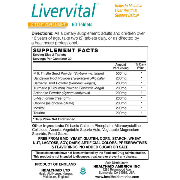 Health Aid Livervital 60ct-Supplements-The Scarlet Sage Herb Co.