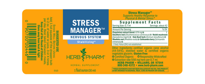 Herb Pharm Stress Manager 1oz-Tinctures-The Scarlet Sage Herb Co.