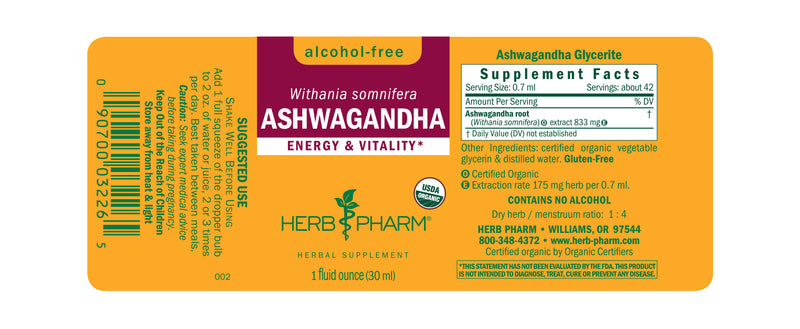 Herb Pharm Glycerite Ashwagandha 4oz-Tinctures-The Scarlet Sage Herb Co.