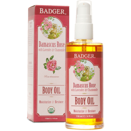 Badger Body Oil Damascus Rose 4oz - The Scarlet Sage Herb Co.