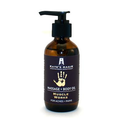 Kate's Magik Massage Oil Muscle Works 4oz - The Scarlet Sage Herb Co.