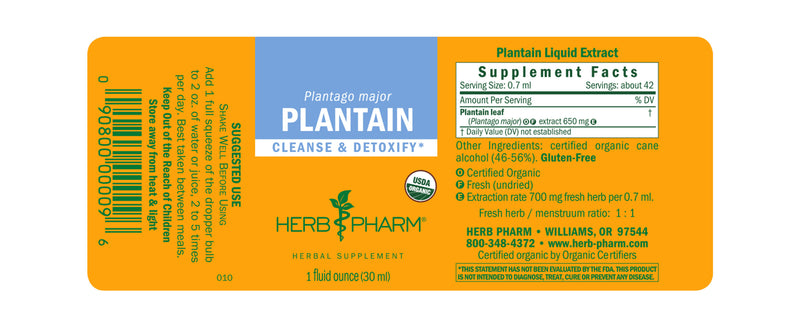 Herb Pharm Plantain 1oz-Tinctures-The Scarlet Sage Herb Co.