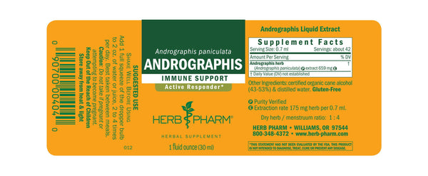 Herb Pharm Andrographis 1oz-Tinctures-The Scarlet Sage Herb Co.