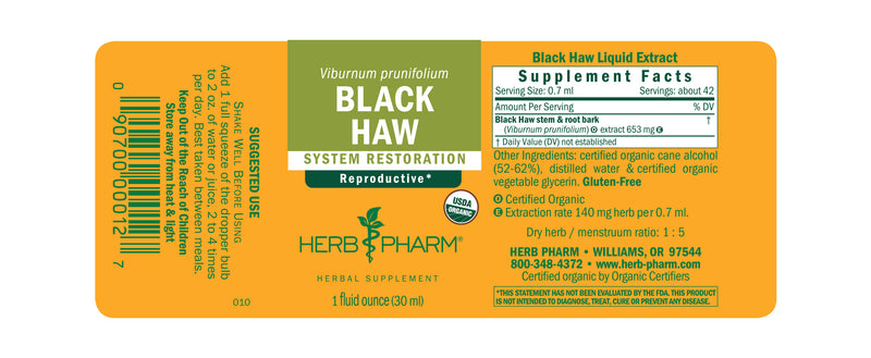 Herb Pharm Black Haw 1oz.-Tinctures-The Scarlet Sage Herb Co.