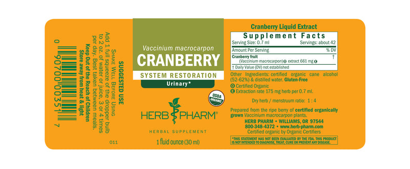 Herb Pharm Cranberry 1oz-Tinctures-The Scarlet Sage Herb Co.