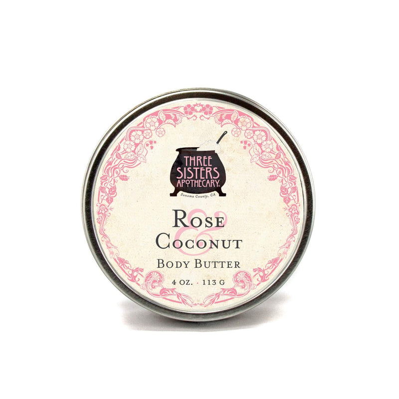 Three Sisters Apothecary Body Butter Rose Coconut 4oz - The Scarlet Sage Herb Co.