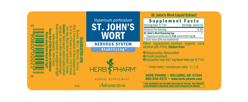 Herb Pharm St Johns Wort 1oz-Tinctures-The Scarlet Sage Herb Co.