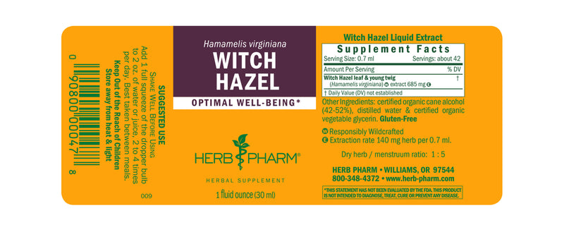 Herb Pharm Witch Hazel 1oz-Tinctures-The Scarlet Sage Herb Co.