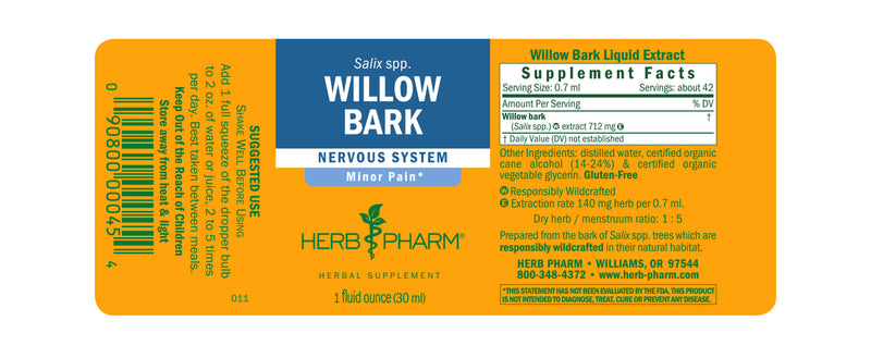 Herb Pharm Willow Bark 1oz-Tinctures-The Scarlet Sage Herb Co.