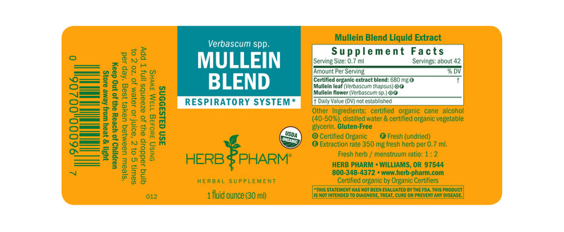 Herb Pharm Mullein Blend 1oz-Tinctures-The Scarlet Sage Herb Co.