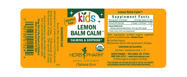 Herb Pharm Kids Lemon Balm Calm 1oz-Tinctures-The Scarlet Sage Herb Co.