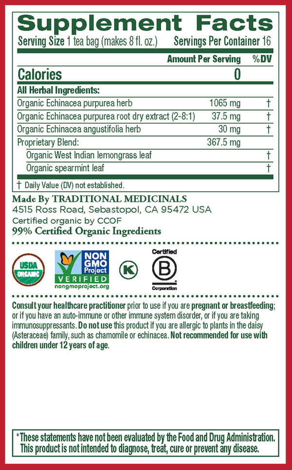 Traditional Medicinals Echinacea Plus 16Ct-Teas-The Scarlet Sage Herb Co.