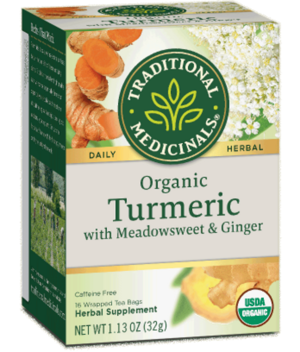 Traditional Medicinals Turmeric Measdowsweet Ginger 16ct-Teas-The Scarlet Sage Herb Co.