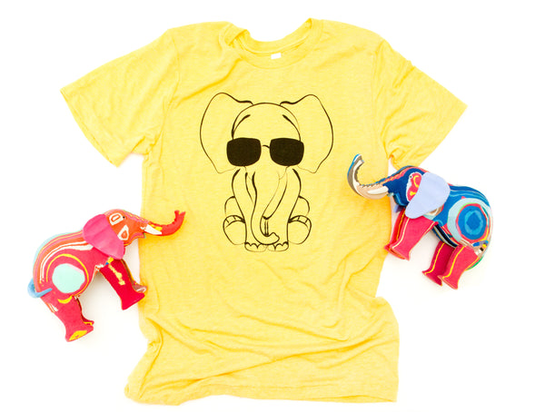 Elephant with Glasses Women's Yellow Tee
