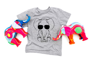 Elephant with Glasses Youth Grey Tee
