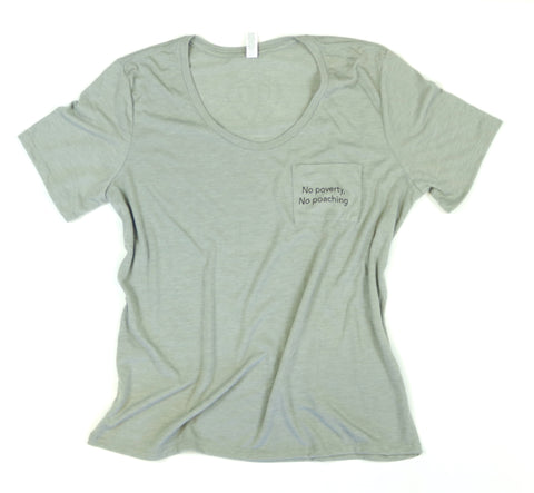 No Poverty No Poaching Women's Adult Flowy Pocket Tee
