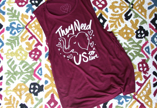 They Need Us to Live Maroon Tank