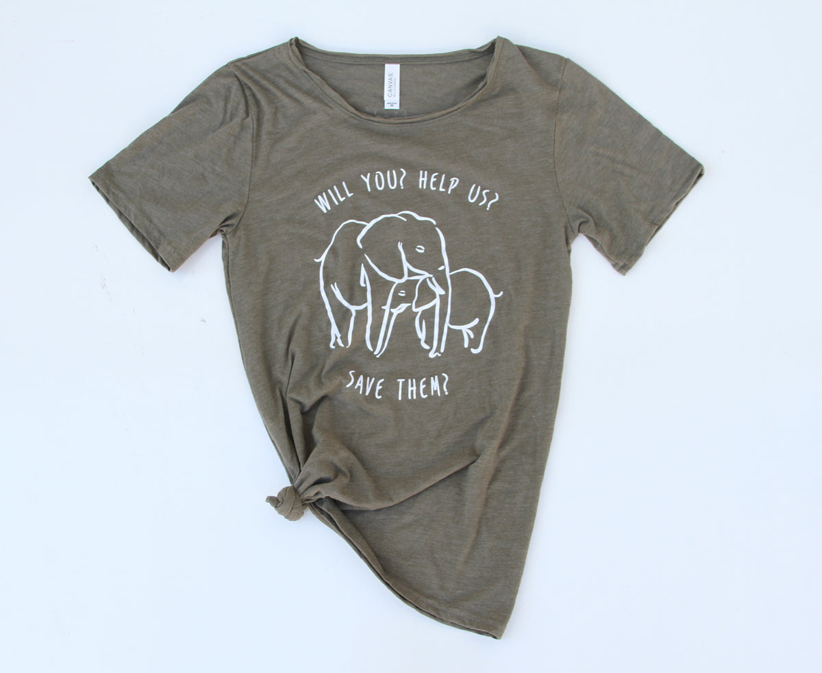 Will You Help Us Save Them Raw Neck Tee