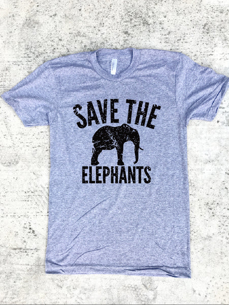 Save The Elephants Unisex Adult Triblend Tee